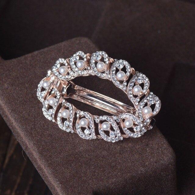 Simulated Pearls Geometry Women Barrettes Hair Clip Fashion Rhinestone Metal Circle Hair Accessories