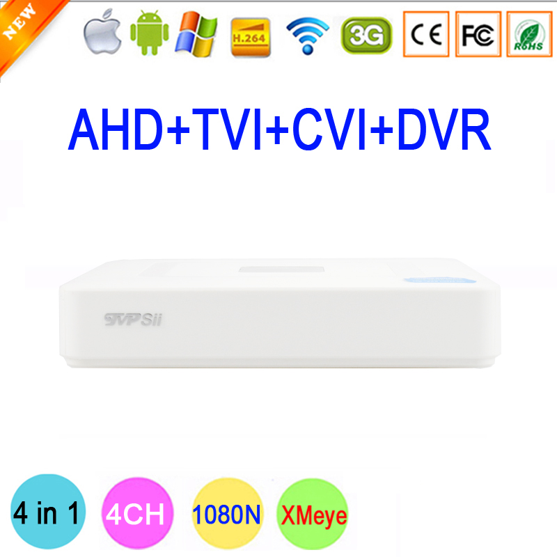 XMeye 4 Channel 4 CH 1080N Mini 4 in 1 Coaxial Hybrid TVi CVI IP NVR AHD DVR For 1080P Surveillance Camera Free Shipping