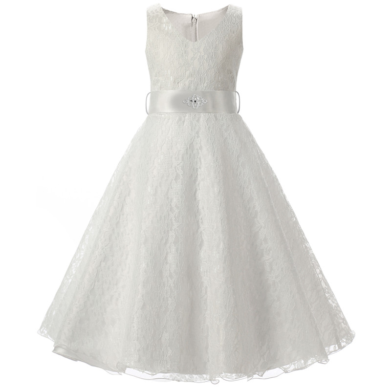 eba285a5076 Little Lady 6-14 Years Long Flower Girl Dress For Wedding Kids Clothes  Elegant Princess