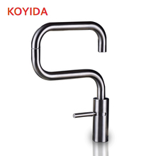 Koyida Кухня кран из нержавеющей стали 360 градусов вращения раковина кран горячей и холодной смесителя водопроводный кран на бортике кухонный кран