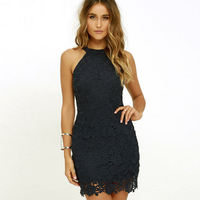 2018 Summer Women Sexy Lace Dress Elegant Party Sexy Night Club Casual Dresses Halter Neck Sleeveless