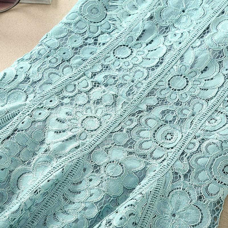 cou Dentelle Élégante Qualité De 2017 Nouvel Haute Vert Femmes Mode Piste Robes Floral Sans Ecombird O Creux Manches Été 0q74wnAa