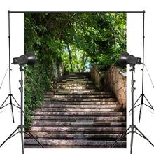 150x220cm Stone Staircase Photography Background Green Tree Backdrop Landscape Photo Studio Background Props Wall стоимость