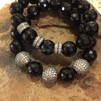 Faceted ONYX Beads CZ Pave Ball Or Tube Stretch Strand Stacking Bracelet B15120910
