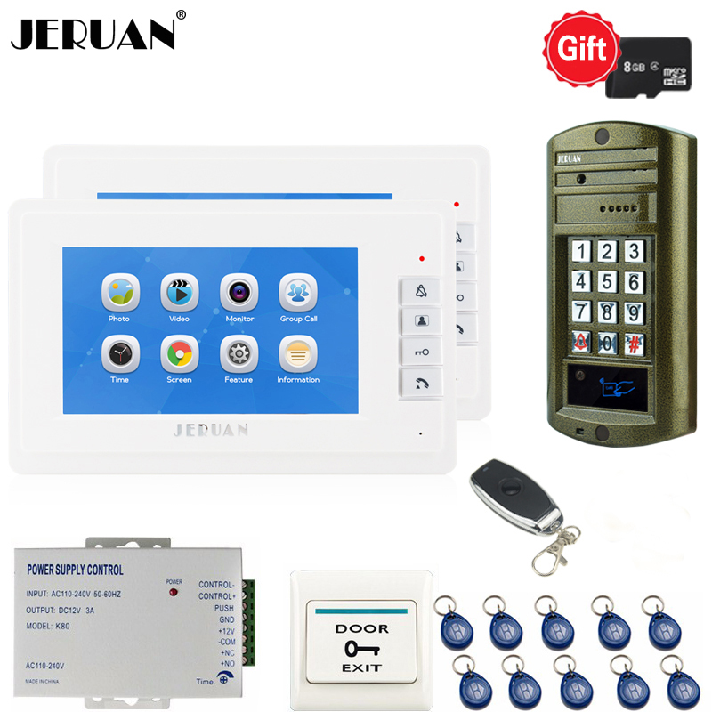 JERUAN 7`` LCD Video Doorbell Voice/Video Recording Intercom System kit 2 Monitors + Waterproof password Access Mini Camera 1V2