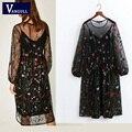 Las mujeres de dos piezas dress lcasual elegante atractivo de la vendimia vestidos de estilo bohemio nacional bordado floral dress