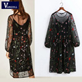 Women two-piece dress Sexy Elegant Vintage Lcasual dresses national style beach Bohemian Floral Embroidered Dress
