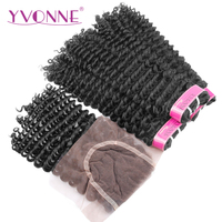 Yvonne Hair Products 100 Brazilian Virgin Hair Bundles With Closure Kinky Curly Natural Color 3 Bundles
