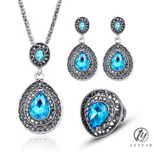 Crystal Wedding Jewelry Set For Women Antique Silver Coor Black Rhinestone Big Water Drop Pendant Necklace Earrings Ring Set 20%