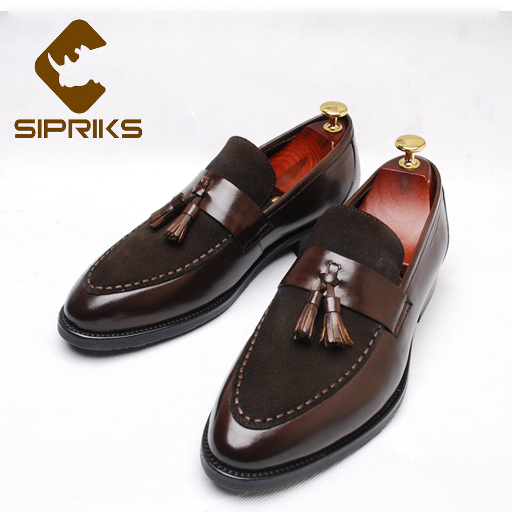 Sipriks Dark Brown Leather Designer Loafers Men Pointed Toe Tassels Loafers Slip On Dress Shoes Wedding Party Formal Tuxedo Shoe цена