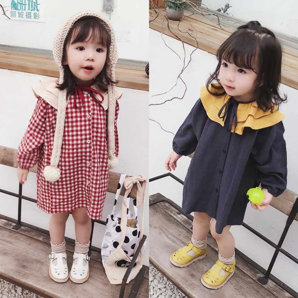Top de Venda de Moda Bebê Recém-nascido Meninas Roupas Crianças de Algodão de Manga Comprida Impressa folha de lótus vestido de princesa Outfits Roupas