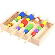 Children Wooden Montessori Materials Learning Toys Kids Wooden Educational Beading Game Cognition of Color and Shape Toy