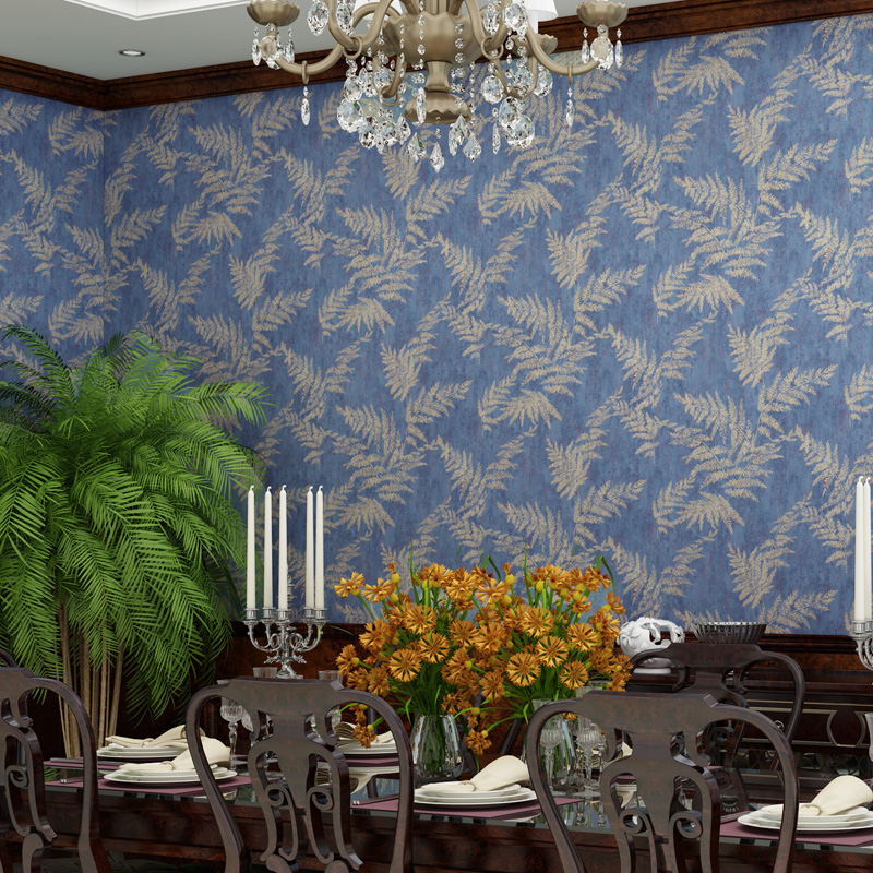Vintage Palm Leaves Wallpapers Tropical Retro Dark Blue Non-woven Mural Florest Wall Paper Roll for Walls papel de parede tropical leaves print tapestry wall hanging art