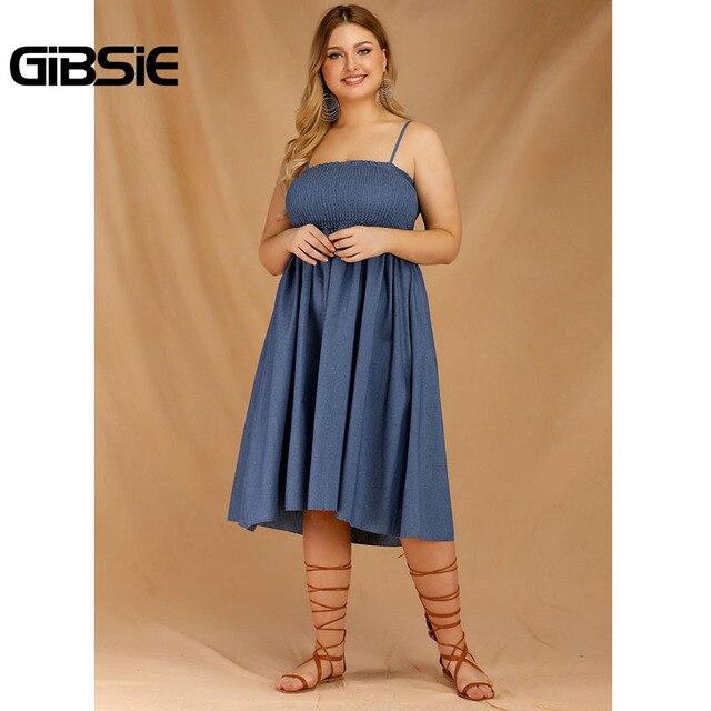 GIBSIE Plus Size Women's Denim Spaghetti Strap Dresses 2019 Summer Casual High Waist Big Hem Sleeveless Midi Dress Vestidos 1
