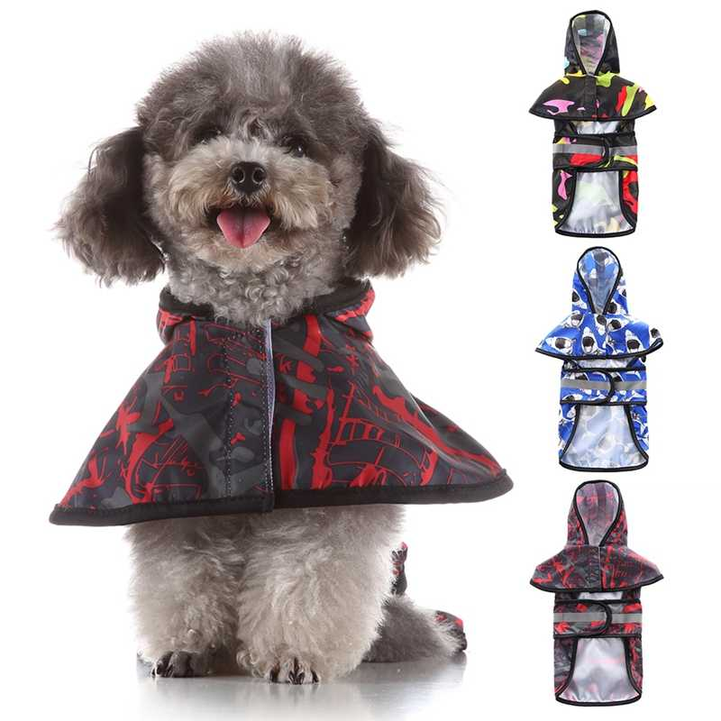 Dog Raincoat Puppy Rain Coat with Hood Reflective Waterproof Dog Clothes Soft Breathable Pet Cat Small Dog Rainwear Clothing