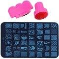 Ногтей штамповки из нержавеющей стали изображения пластины и штампа скребок комплект DIY Konad ногтей печать шаблона инструменты