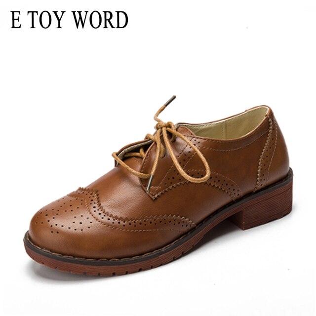 E TOY WORD Plus Size 34-41 Oxford Shoes Women Autumn Flats New 2018 Fashion Brogue Women Shoes sapatos femininos sapatilhas