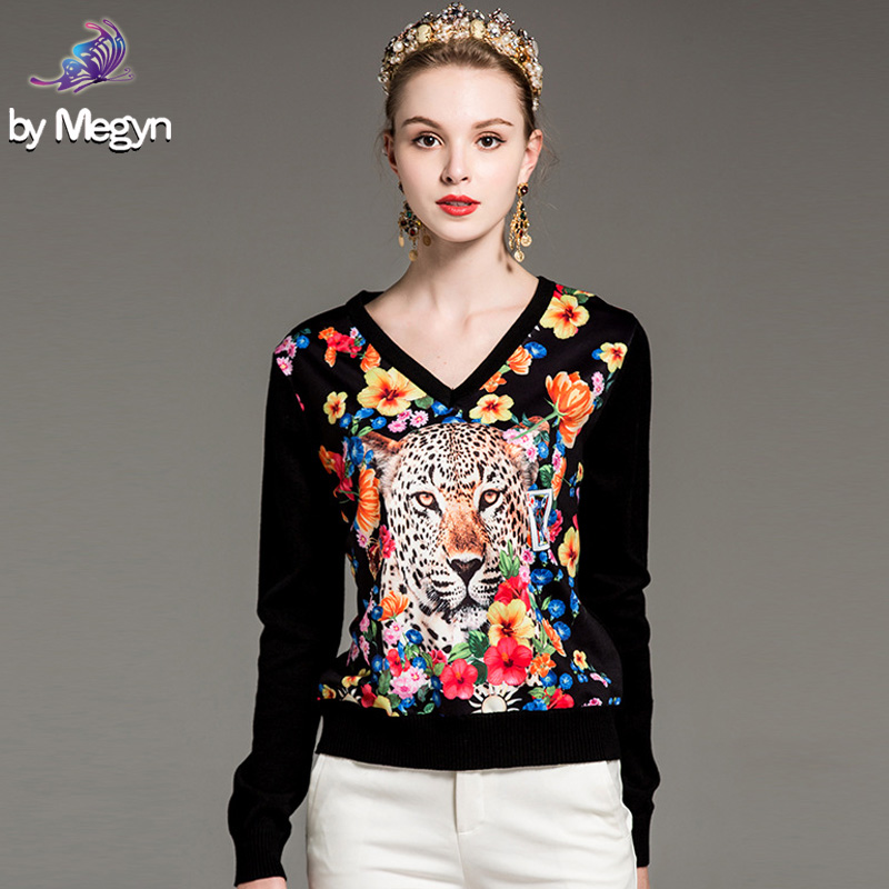 High Quality Women Runway Fashion Designer Sweater 2018 Elegant Long Sleeve Flower leopard Printed Patchwork Black Wool Sweater