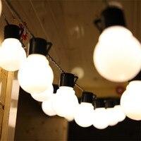 ZINUO 10 M 38 stks 5 CM Grote Bal LED String Zwarte Draad Outdoor Fairy String Guirlande Licht Kerstmis Bruiloft Tuin Licht 110 V 220 V