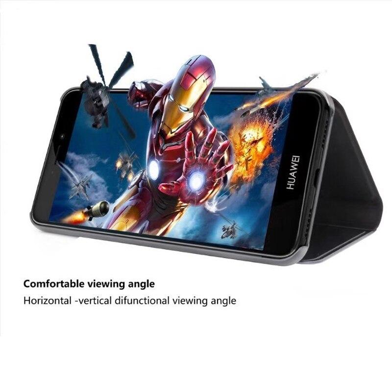 Luxury Mirror View Smart Flip Case For Huawei P10Lite Case P8 P9Lite2017 P10 P10Plus Mate10 Mate9 Case Clear View Smart Cover