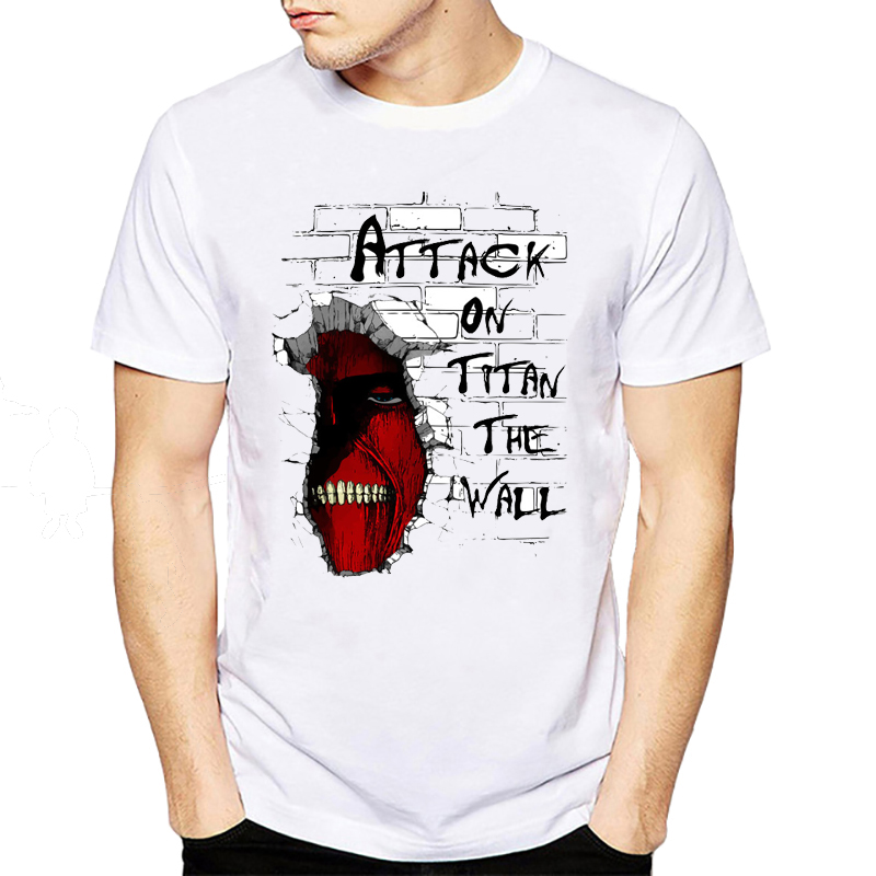 Attack On Titan The Wall T-Shirt 2018 Fashion T Shirt Hip Hop Short Sleeve Devil Printed Top Tees Clothing