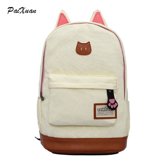 2017 new children school bags for teenage Primary girls cat backpacks Animal canvas laptop cute backpack kids infant sac a dos
