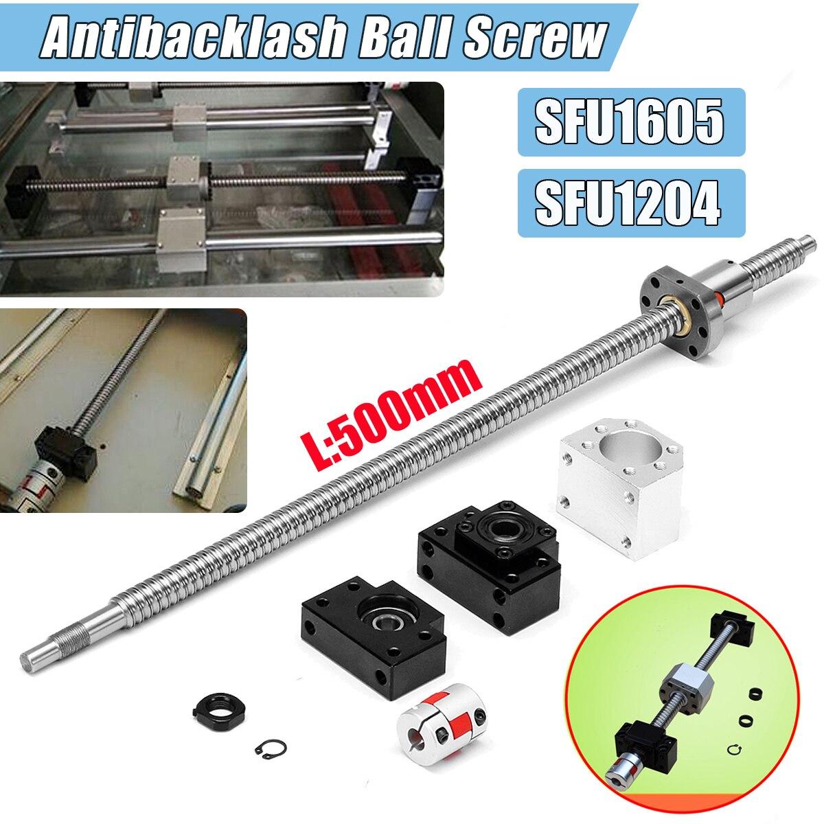 SFU1204/Conjunto Do Parafuso da Esfera de Rolamento de Aço + BK10 SFU1605 500mm + BF10/BK12 + Final Usinado BF12 apoio Partes CNC Acoplador