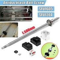 SFU1204/SFU1605 500mm Ball Screw Set Bearing Steel +BK10+BF10/BK12+BF12 End Machined CNC Parts Support Coupler