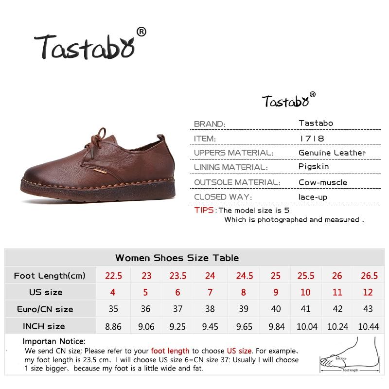 Tastabo 새로운 수제 구두 2017 로퍼 여성 구두 캐주얼 작업 운전 구두 여성 플랫 정품 가죽 플랫 플러스 사이즈-에서여성용 플랫부터 신발 의  그룹 3