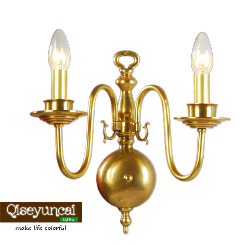 Qiseyuncai American retro living room full copper wall lamp TV wall candle double single head copper wall bedroom aisle lights|LED Indoor Wall Lamps| |  - title=