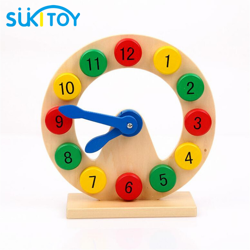 SUKIToy Wooden toy Kid s Soft Montessori digital clock for kids number time learning gift intelligent