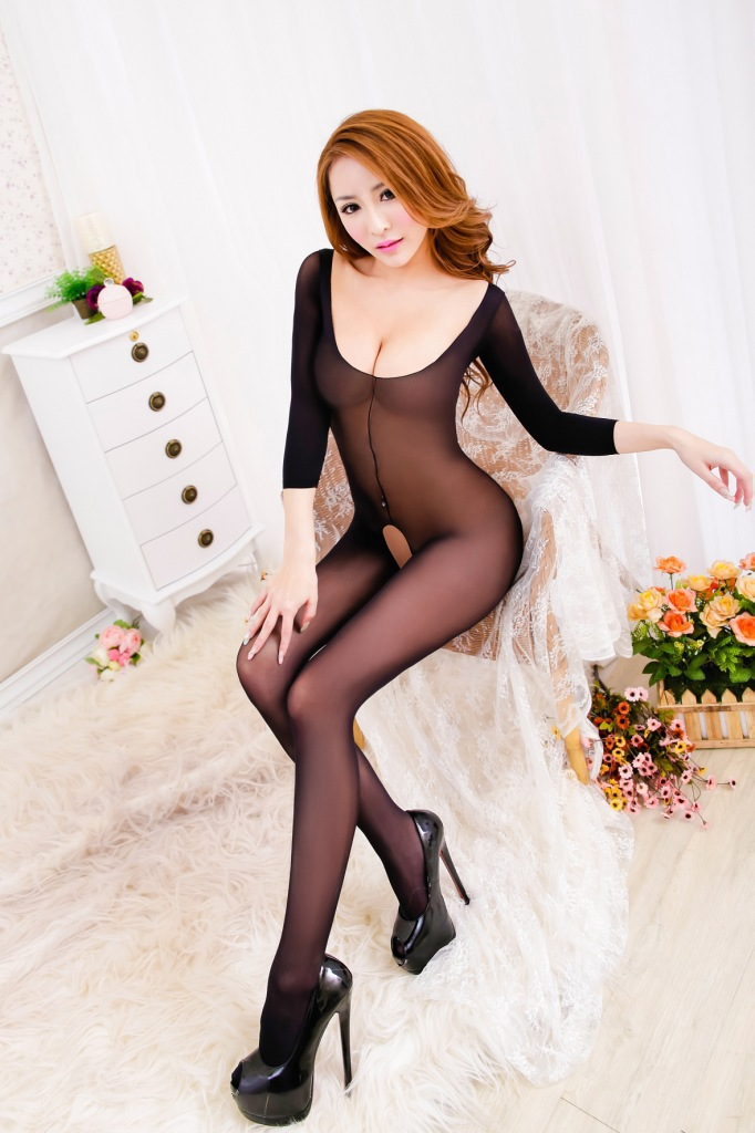 Womens Compression Stocking Full Body Crotchless Sexy -7899