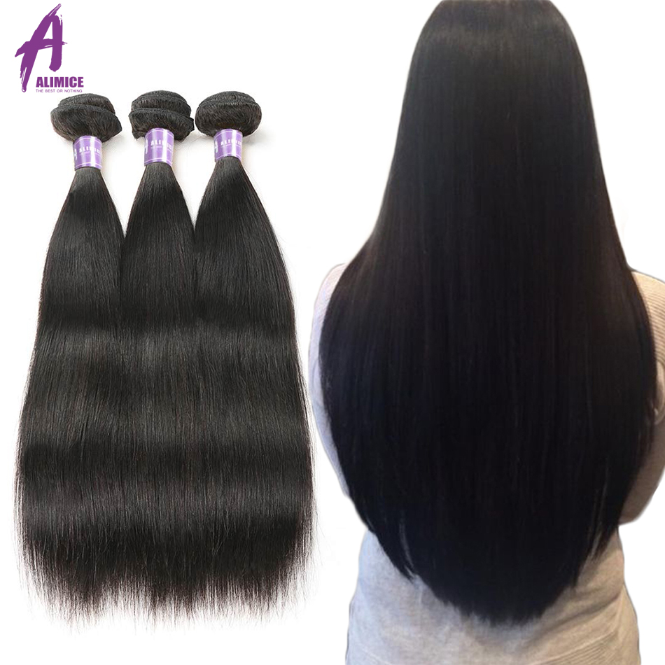 Alimice Hair Indian Straight Hair 8-26 inch Non-Remy Hair Extensions - Menneskehår (sort)