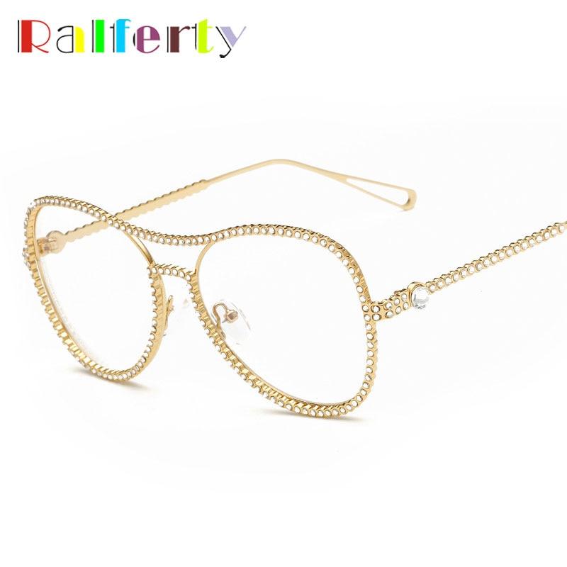 ④Ralferty moda rhinestone marco oro con cuentas transparente gafas ...