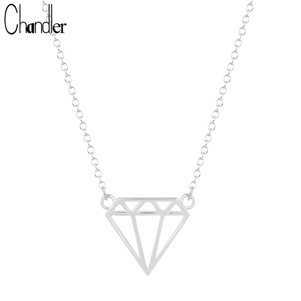 Chandler Silver Plate Simulated Subulate Triangle Model Pendant Necklaces For Women Noble Long Chain Statement Brand New Jewelry