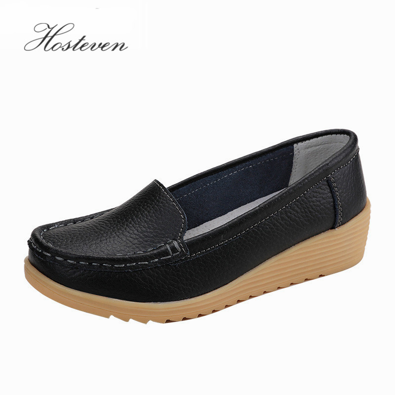 Women's Shoes Non Slip Leather Loafers Comfortable Woman Flats Mocassins Mother Solid Lady Casual Pregnant Footwear Shoe men cow split leather shoes casual loafers soft and comfortable oxfords non slip flats luxury brand designer shoe zapatos hombre