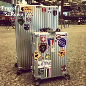 Image 1 - 39Pcs Fashion Brand Logo Travel Stickers World Famous Tourism Wonders Country Regions Logo Decals Stickers For Luggage Laptop