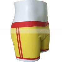 Male Yellow and Red Trims Rubber Latex Shorts Man Boxer Panties Custom Made S LPM028