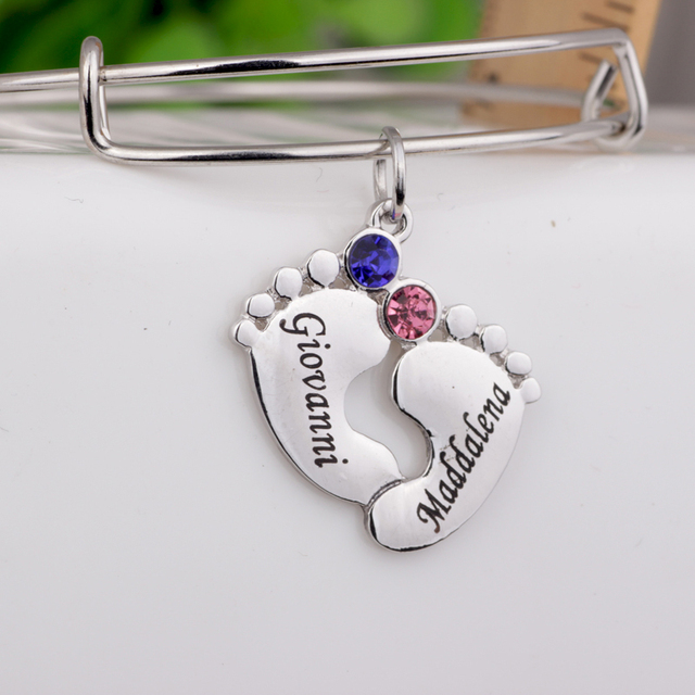 Baby Feet Bangle Custom Made Names Birthstones Birthday Gift For Mom And Kids Can Drop