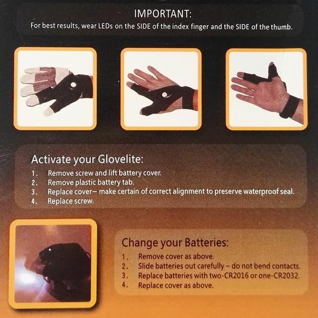 1pc Flashlight Gloves for Fishing At Night Hunting Fishing Gloves men women dual LED AS SEEN ON TV