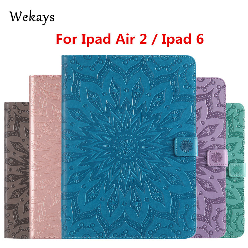 Wekays For Apple IPad Air 2 IPad 6 Sun Flower Leather Smart Fundas Case For Coque IPad Air 2 IPad 6 IPad6 9.7 Tablet Cover Case for case apple ipad air 2 cute kids gift animal prints pu leather tpu case cover stand flip kids cover for ipad air 2 coque