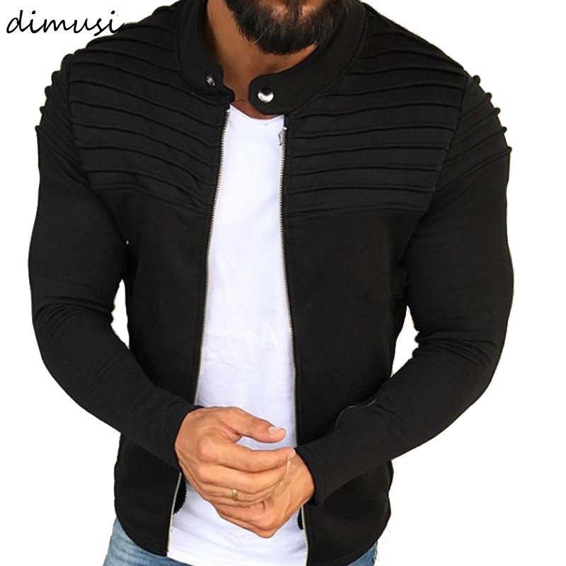 DIMUSI Mens Jacket Outerwear Motorcycle-Coats Slim-Collar Long-Sleeve Autumn Winter Fashion