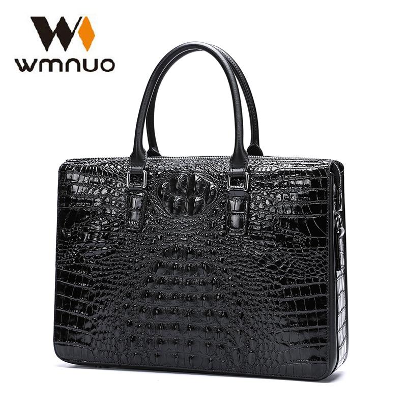 Wmnuo Briefcase Bag Men Handbag Crocodile Pattern Cow Leather Man Shoulder Messenger Bag Password Lock Men Computer Business Bag