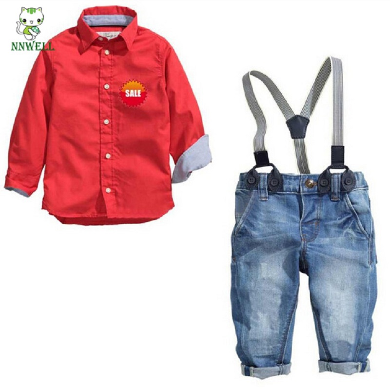 NNW 2PCS Summer Spring Kids Baby Boys Outfits Suits Red Long-sleeved Shirt Tops Cotton+ Belt Jeans Pants Set
