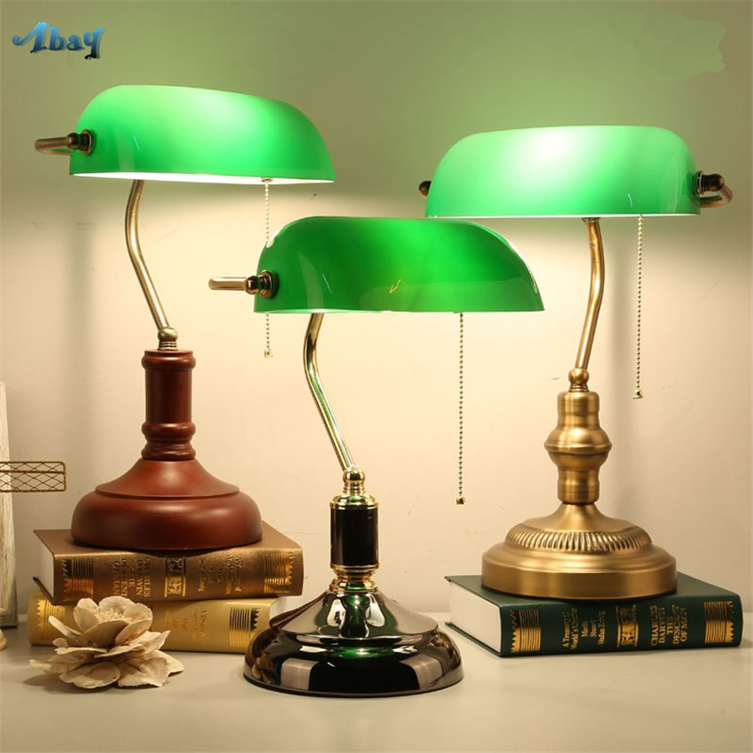 US $52.8 20% OFF|Retro Green Glass Table Lamps Bedroom Bedside Bank Desk  Lights Republic Study Lamps Lighting European Retro Nostalgic Fixtures-in  LED ...