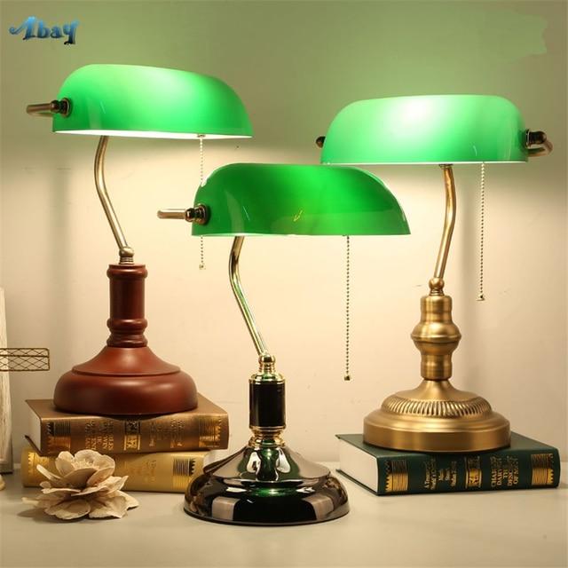 Retro Green Glass Table Lamps Bedroom Bedside Bank Desk Lights