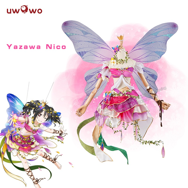 Nico Yazawa Cosplay Love Live Flower Fairies Idolized Awakening Uwowo Costume lovelive Nico Yazawa Flower Fairy Love Live refreshing black medium with bunches love live yazawa nico uniform style cosplay wig