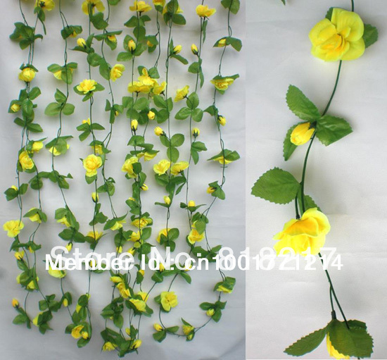 Wholesale 50 stems rose garlands artificial silk flower trailing wholesale 50 stems rose garlands artificial silk flower trailing plants imitaion ivy plants yellow mightylinksfo Choice Image