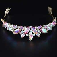 Marquise form AB Glas Krone braut Tiaras kristall Mode Diadem Tiara für Braut Stirnbänder frauen Hochzeit Haar Zubehör