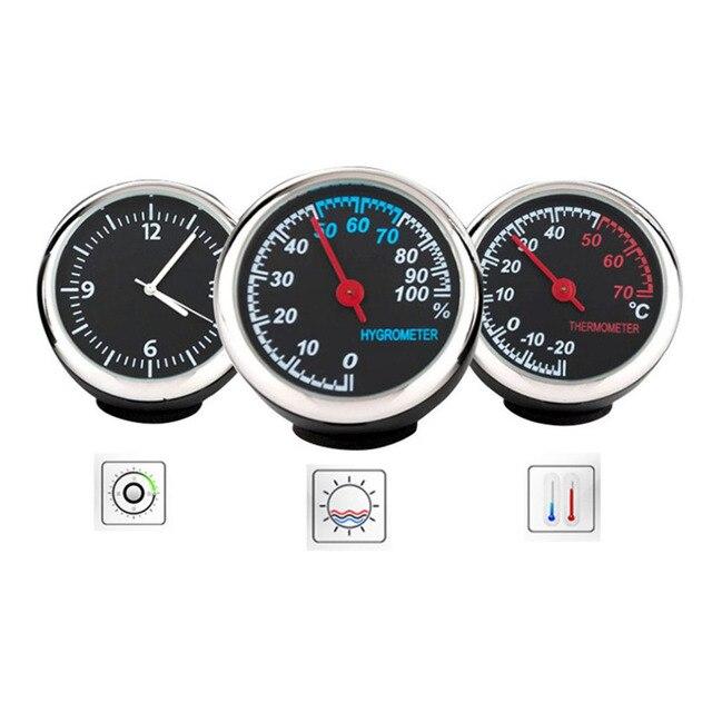 Okrągły Kształt Samochodu Samochodowy Zegar Cyfrowy Zegarek Automatycznytermometrhigrometr Dekoracja Do Wnętrza Samochodu Ornament Car Styling